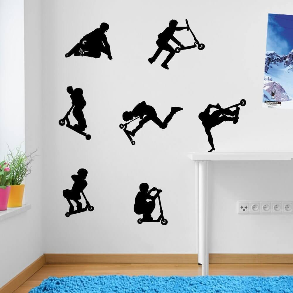 Stunt Scooter Vinyl Decor Wall Decals Electric Kids Scooters